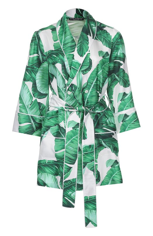 Шелковый жакет в пижамном стиле с цветочным принтом Dolce &amp; GabbanaЖакеты<br><br><br>Российский размер RU: 40<br>Пол: Женский<br>Возраст: Взрослый<br>Размер производителя vendor: 38<br>Материал: Шелк: 100%;<br>Цвет: Зеленый