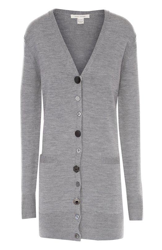 Удлиненный кардиган с карманами и V-образным вырезом Marc JacobsКардиганы<br><br><br>Российский размер RU: 44<br>Пол: Женский<br>Возраст: Взрослый<br>Размер производителя vendor: M<br>Материал: Шерсть: 100%;<br>Цвет: Серый