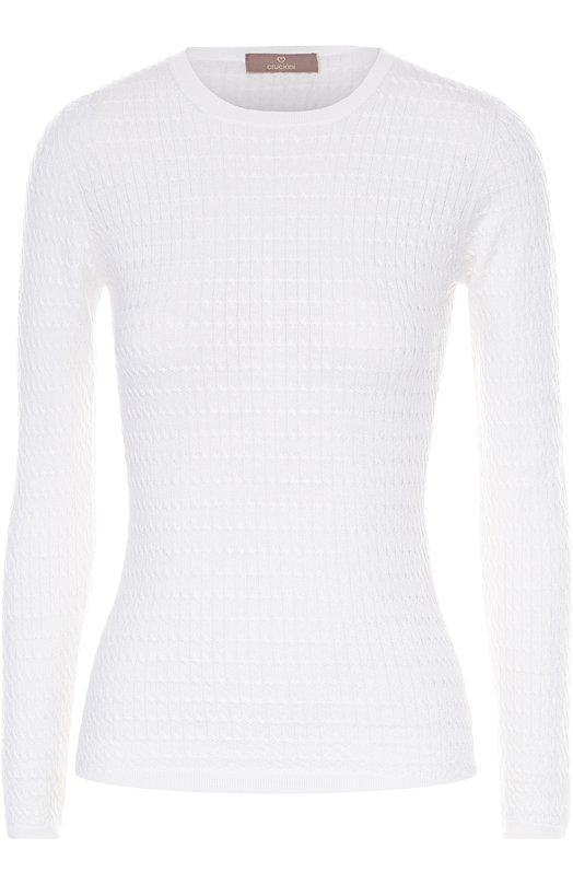 Облегающий пуловер фактурной вязки с круглым вырезом CrucianiСвитеры<br>В осенне-зимнюю коллекцию 2016 года вошел тонкий свитер из пряжи на основе мягкой шерсти. Модель белого цвета украшена объемным повторяющимся орнаментом. Горловина, манжеты на пуговицах и пояс связаны в технике английской резинки.<br><br>Российский размер RU: 42<br>Пол: Женский<br>Возраст: Взрослый<br>Размер производителя vendor: 40<br>Материал: Шерсть: 70%; Шелк: 20%; Кашемир: 10%;<br>Цвет: Белый