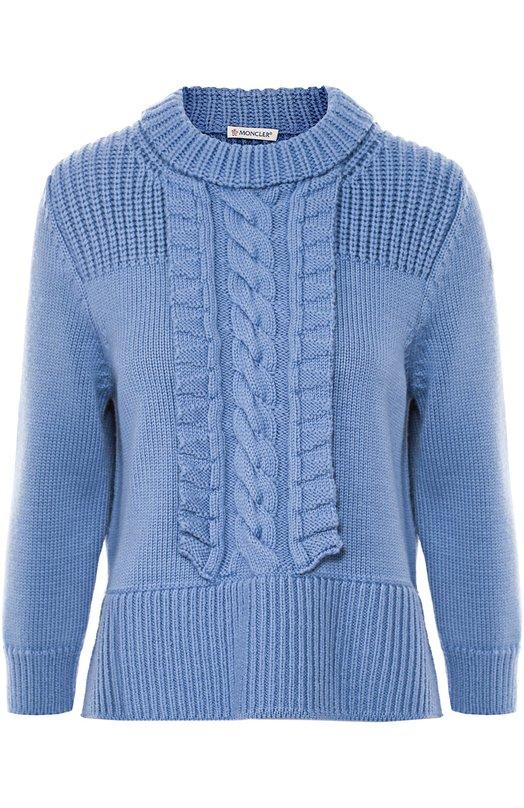 Пуловер с укороченным рукавом и фактурной отделкой Moncler B2-093-90629-00-97991