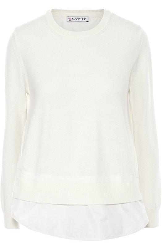 Вязаный пуловер свободного кроя с длинным рукавом Moncler B2-093-90656-00-97994