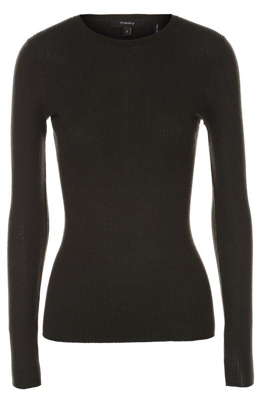 Облегающий пуловер фактурной вязки TheoryСвитеры<br>В осенне-зимнюю коллекцию 2016 года вошел тонкий темно-зеленый пуловер. Для создания облегающей модели с круглым вырезом и длинными рукавами мастера марки использовали мягкую шерсть мериноса. Рекомендуем сочетать с черными ботильонами, миди-юбкой и сумкой.<br><br>Российский размер RU: 48<br>Пол: Женский<br>Возраст: Взрослый<br>Размер производителя vendor: L<br>Материал: Шерсть меринос: 100%;<br>Цвет: Темно-зеленый