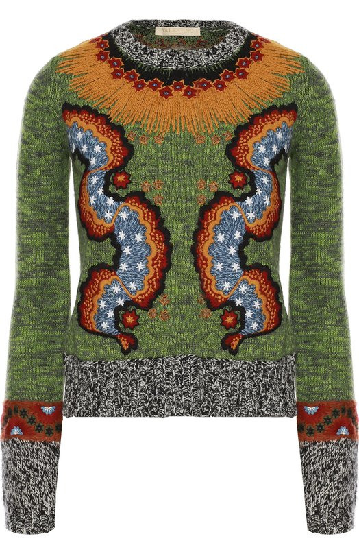 Вязаный пуловер с круглым вырезом и яркой вышивкой ValentinoСвитеры<br><br><br>Российский размер RU: 42<br>Пол: Женский<br>Возраст: Взрослый<br>Размер производителя vendor: S<br>Материал: Шерсть: 62%; Хлопок: 24%; Кашемир: 14%; Отделка-шерсть: 100%;<br>Цвет: Зеленый