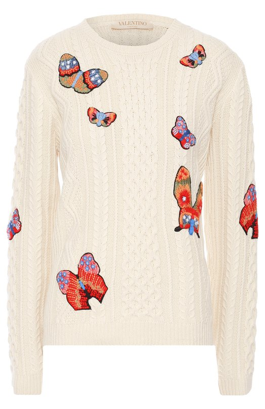 Пуловер фактурной вязки с вышивкой в виде бабочек Valentino LB3KC17D/2T4