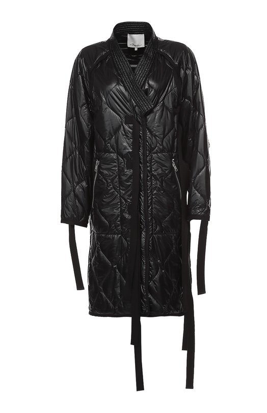 Стеганая парка с запахом и декоративными лентами 3.1 Phillip LimКуртки<br>Филлип Лим включил в коллекцию сезона осень-зима 2016 года стеганое пальто. Для создания модели использован непромокаемый черный материал с легким глянцевым блеском. Изделие завязывается тремя длинными текстильными лентами в тон. По бокам ? два прорезных кармана на молнии.<br><br>Российский размер RU: 42<br>Пол: Женский<br>Возраст: Взрослый<br>Размер производителя vendor: S<br>Материал: Полиамид: 100%; Подкладка-полиамид: 100%;<br>Цвет: Черный