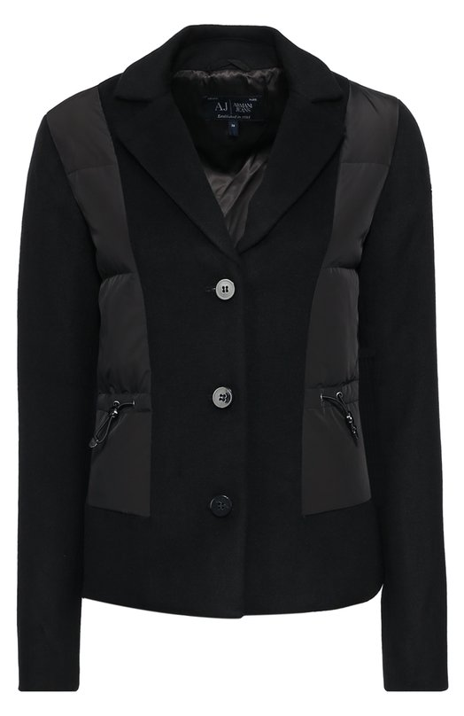 Приталенная куртка с пуховой отделкой Armani JeansКуртки<br>Для создания куртки с V-образным вырезом, выполненной в виде пиджака, Джорджио Армани выбрал плотную шерстяную ткань, для стеганых боковых вставок ? непромокаемый текстиль. Черная модель из осенне-зимней коллекции 2016 года утеплена пухом и пером. Пуховик с поясом-кулиской застегивается на пуговицы.<br><br>Российский размер RU: 44<br>Пол: Женский<br>Возраст: Взрослый<br>Размер производителя vendor: 42<br>Материал: Шерсть: 70%; Пух: 70%; Перо: 30%; Полиэстер: 30%; Подкладка-полиэстер: 100%; Отделка-полиэстер: 100%;<br>Цвет: Черный