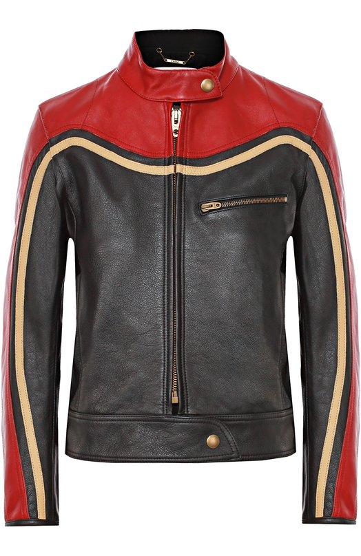Укороченная кожаная куртка с контрастной отделкой Chlo?Куртки<br>Мастера марки сшили куртку из мягкой матовой кожи черного и красного цветов, отделку ? из бежевой. Модель вошла в осенне-зимнюю коллекцию 2016 года. Пояс и горловина дополнены широкими ремешками с кнопками. На груди ? прорезной карман на молнии.<br><br>Российский размер RU: 44<br>Пол: Женский<br>Возраст: Взрослый<br>Размер производителя vendor: 38<br>Материал: Кожа натуральная: 100%; Подкладка-купра: 100%;<br>Цвет: Черный