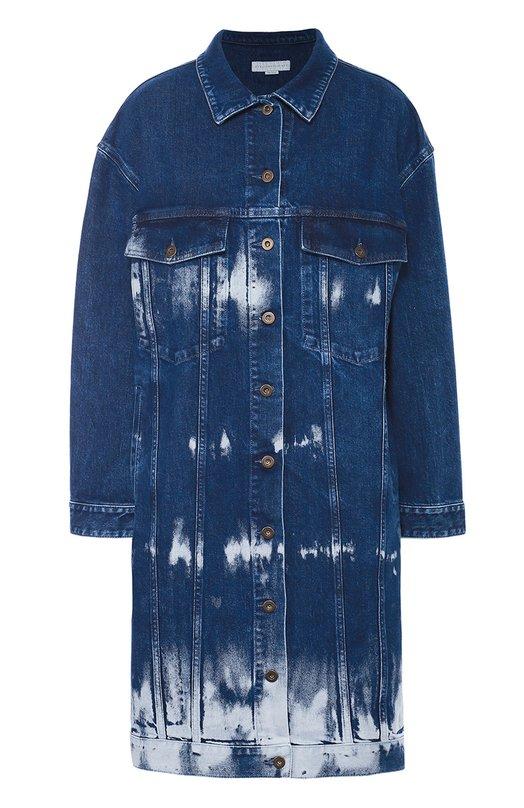 Удлиненная джинсовая куртка с потертостями Stella McCartneyКуртки<br>Стелла Маккартни включила синее джинсовое пальто Malori в коллекцию сезона осень-зима 2016 года. Модель с нагрудными карманами и длинными рукавами сшита из прочного хлопка. Изделие на болтах окрашено вручную в технике узелкового батика, поэтому ткань похожа на вареный деним.<br><br>Российский размер RU: 46<br>Пол: Женский<br>Возраст: Взрослый<br>Размер производителя vendor: 38<br>Материал: Хлопок: 98%; Эластан: 2%;<br>Цвет: Синий