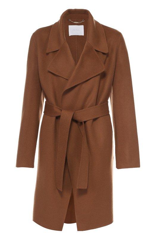 Пальто с поясом и широкими лацканами HUGO 50318735