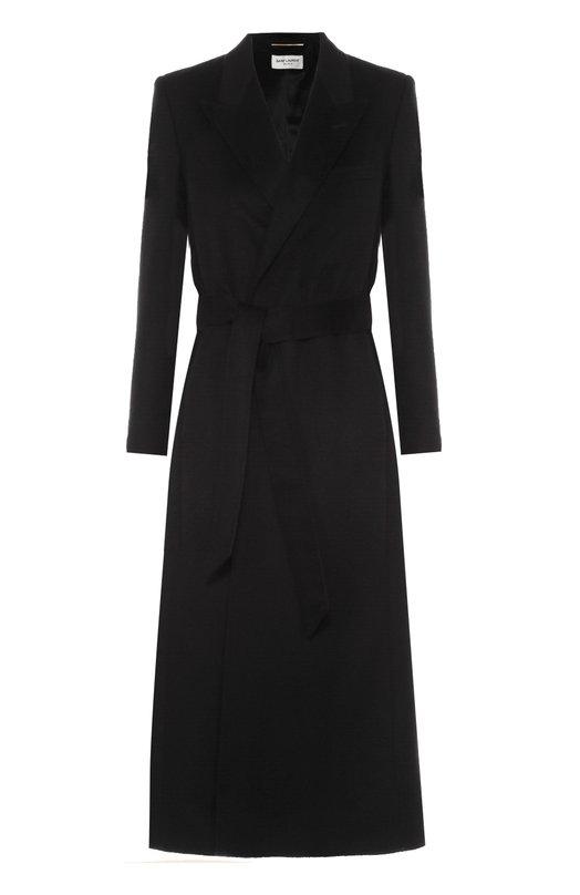 Удлиненное кашемировое пальто с поясом Saint Laurent 437927/Y801N