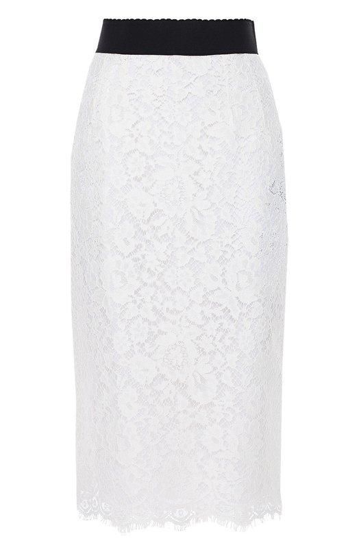 Кружевная юбка-карандаш с широким поясом Dolce &amp; GabbanaЮбки<br>Белая юбка-карандаш сшита из полупрозрачного кордового кружева с цветочным узором и фестончатой каймой. Доменико Дольче и Стефано Габбана дополнили модель из коллекции сезона осень-зима 2016 года широким эластичным поясом черного цвета. Изделие застегивается на молнию сзади.<br><br>Российский размер RU: 44<br>Пол: Женский<br>Возраст: Взрослый<br>Размер производителя vendor: 42<br>Материал: Шелк: 86%; Хлопок: 8%; Вискоза: 43%; Эластан: 4%; Полиамид: 2%;<br>Цвет: Белый