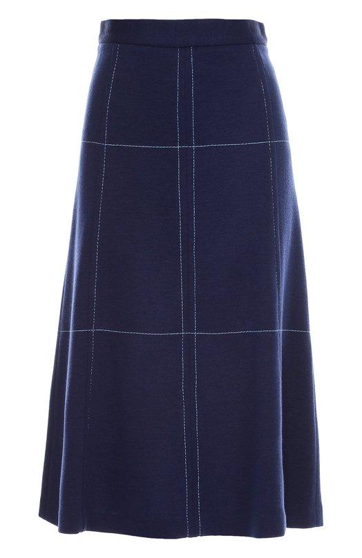Шерстяная юбка А-силуэта с прострочкой M MissoniЮбки<br>Для создания синей миди-юбки Анджела Миссони выбрала плотную шерстяную ткань. Модель А-силуэта украшена светлой строчкой, создающей крупный геометрический узор. Изделие из осенне-зимней коллекции 2016 года застегивается на молнию сзади.<br><br>Российский размер RU: 44<br>Пол: Женский<br>Возраст: Взрослый<br>Размер производителя vendor: 42<br>Материал: Шерсть: 50%; Акрил: 50%;<br>Цвет: Синий