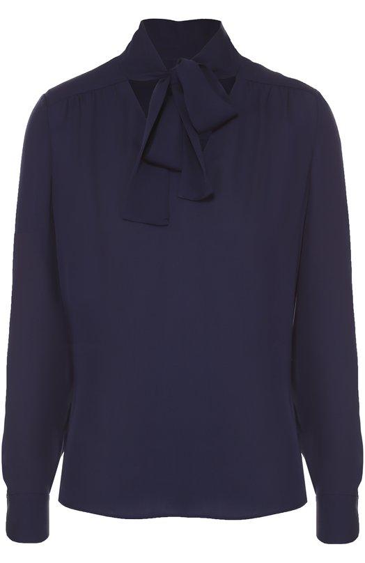 Шелковая блуза прямого кроя с воротником аскот Diane Von FurstenbergБлузы<br>Темно-синяя блуза с длинными рукавами и воротником-аскот вошла в коллекцию сезона осень-зима 2016 года. Мастера марки, основанной Дианой фон Фюстенберг, использовали для создания модели мягкий шелковый креп. Попробуйте сочетать с пестрой плиссированной юбкой и бежевыми туфлями.<br><br>Российский размер RU: 42<br>Пол: Женский<br>Возраст: Взрослый<br>Размер производителя vendor: 4<br>Материал: Шелк: 100%;<br>Цвет: Темно-синий