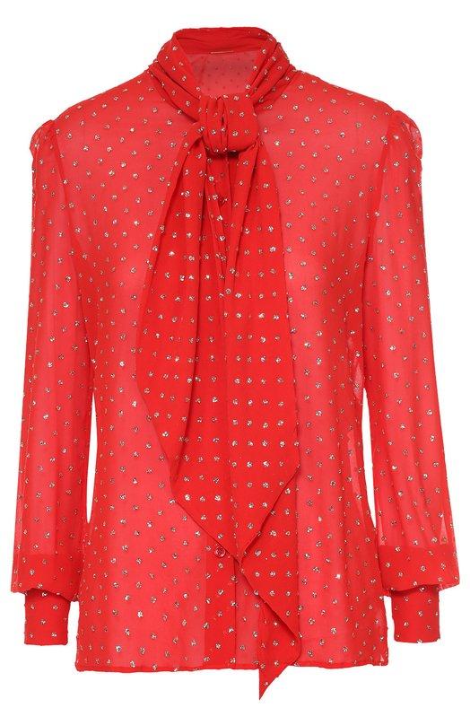 Шелковая блуза с воротником аскот и декоративной отделкой Saint LaurentБлузы<br>В осенне-зимнюю коллекцию марки, основанной Ивом Сен-Лораном, вошла приталенная блуза с воротником аскот и длинными рукавами бишоп. Эди Слиман выбрал для пошива модели ярко-красный струящийся шелк с блестящим микро-узором. Изделие застегивается спереди на пуговицы в тон.<br><br>Российский размер RU: 52<br>Пол: Женский<br>Возраст: Взрослый<br>Размер производителя vendor: 46<br>Материал: Шелк: 100%;<br>Цвет: Красный