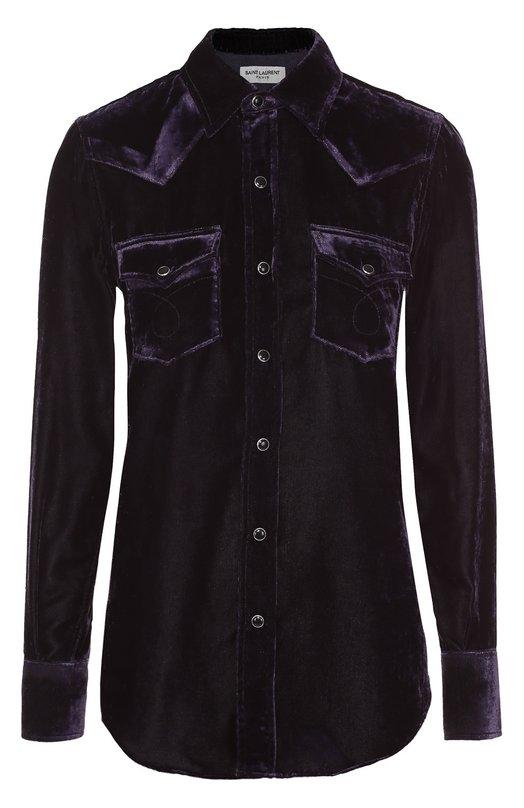 Бархатная блуза прямого кроя с накладными карманами Saint LaurentБлузы<br><br><br>Российский размер RU: 52<br>Пол: Женский<br>Возраст: Взрослый<br>Размер производителя vendor: XL<br>Материал: Вискоза: 70%; Полиэстер: 30%;<br>Цвет: Фиолетовый