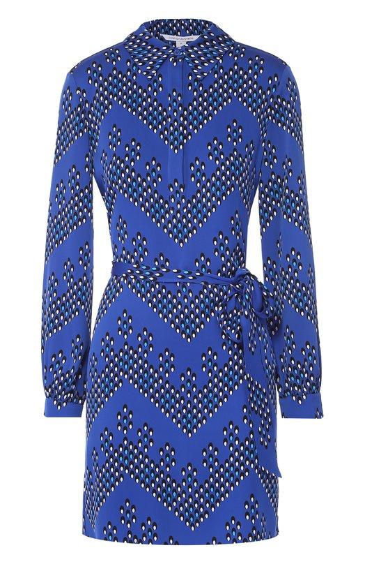 Шелковое платье-рубашка с поясом и ярким принтом Diane Von FurstenbergПлатья<br><br><br>Российский размер RU: 48<br>Пол: Женский<br>Возраст: Взрослый<br>Размер производителя vendor: 10<br>Материал: Шелк: 95%; Эластан: 5%;<br>Цвет: Синий