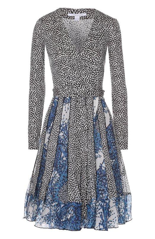 Шелковое платье с запахом и длинным рукавом Diane Von FurstenbergПлатья<br><br><br>Российский размер RU: 40<br>Пол: Женский<br>Возраст: Взрослый<br>Размер производителя vendor: 2<br>Материал: Шелк: 100%; Подкладка-полиэстер: 100%;<br>Цвет: Разноцветный