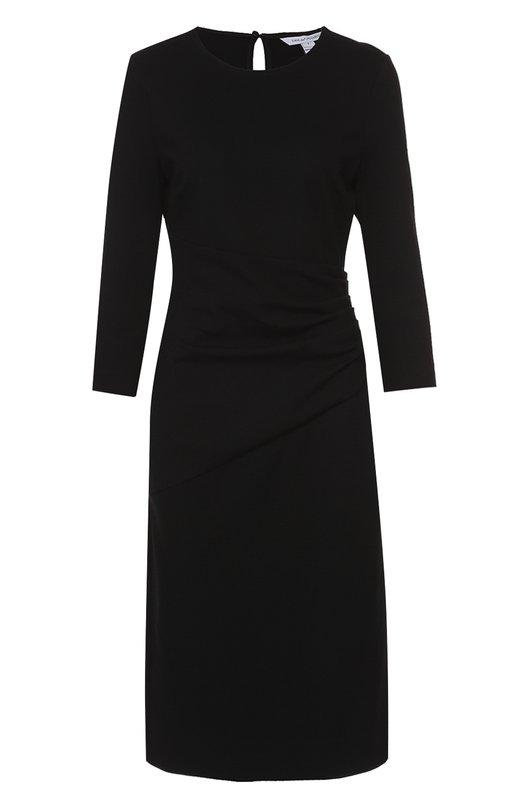 Приталенное платье с укороченным рукавом и драпировкой Diane Von FurstenbergПлатья<br><br><br>Российский размер RU: 38<br>Пол: Женский<br>Возраст: Взрослый<br>Размер производителя vendor: 0<br>Материал: Вискоза: 71%; Эластан: 5%; Полиамид: 24%;<br>Цвет: Черный