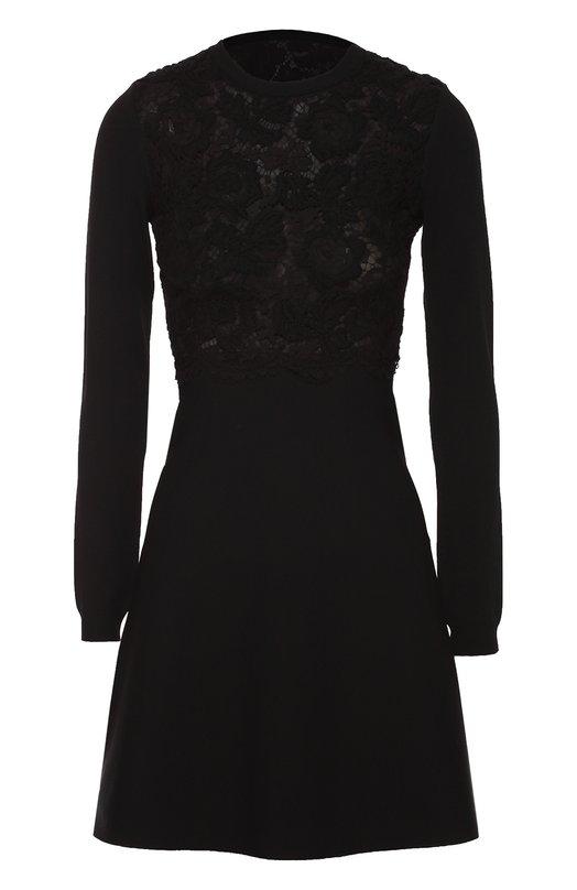 Приталенное мини-платье с кружевной отделкой лифа Valentino LB3KD09C/2SC
