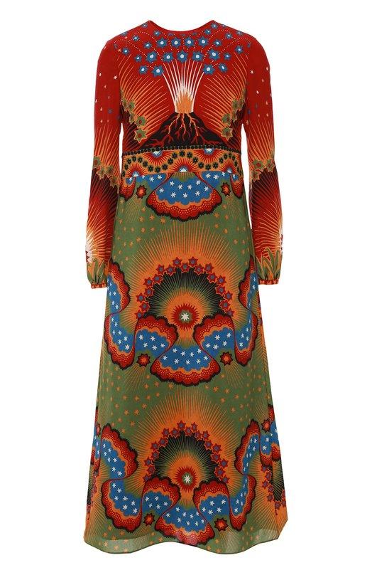 Шелковое платье с завышенной талией и ярким принтом ValentinoПлатья<br>Платье с мотивом Wonderland сшито из нежного крепдешина красного цвета. Модель с длинным рукавом и завышенной линией талии вошла в осенне-зимнюю коллекцию марки, основанной Валентино Гаравани. Изделие длиной ниже колен застегивается на потайную молнию сзади.<br><br>Российский размер RU: 42<br>Пол: Женский<br>Возраст: Взрослый<br>Размер производителя vendor: 40<br>Материал: Шелк: 100%; Подкладка-шелк: 100%;<br>Цвет: Красный
