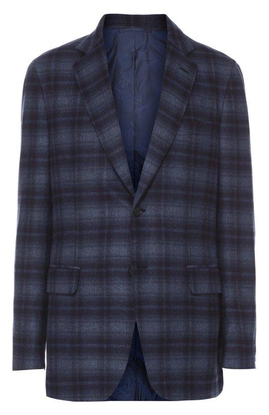 Купить Однобортный пиджак из смеси шерсти и шелка Brioni, RGL4/0531C/NEBULA/2, Италия, Темно-синий, Шелк: 51%; Кашемир: 49%; Подкладка-купра: 100%;