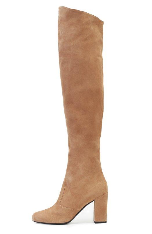 Замшевые ботфорты Babies на устойчивом каблуке Saint LaurentСапоги<br>Бежевые ботфорты Babies с миндалевидным мысом и высоким устойчивым каблуком сшиты из мягкой бархатистой замши. Эта модель стала одной из основных в осенне-зимней коллекции марки, основанной Ивом Сен-Лораном. На внутренней стороне голенища внизу — короткая молния, вверху — эластичные вставки.<br><br>Российский размер RU: 39<br>Пол: Женский<br>Возраст: Взрослый<br>Размер производителя vendor: 39<br>Материал: Стелька-кожа: 100%; Подошва-кожа: 100%; Замша натуральная: 100%;<br>Цвет: Бежевый