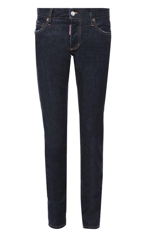 Джинсы скинни с контрастной отстрочкой Dsquared2Джинсы<br>Дин и Дэн Кейтены включили модель с заниженной линией талии в коллекцию сезона осень-зима 2016 года. Для создания зауженных джинсов, прошитых коричневой нитью, использован плотный синий хлопок. Пояс со шлевками для широкого ремня и правый задний карман дополнены нашивками с логотипом бренда.<br><br>Российский размер RU: 48<br>Пол: Мужской<br>Возраст: Взрослый<br>Размер производителя vendor: 48<br>Материал: Хлопок: 98%; Эластан: 2%;<br>Цвет: Синий