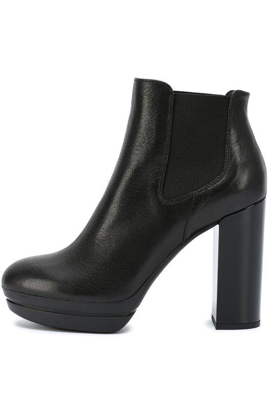 Кожаные ботильоны на платформе и устойчивом каблуке HoganБотильоны<br><br><br>Российский размер RU: 38<br>Пол: Женский<br>Возраст: Взрослый<br>Размер производителя vendor: 38-5<br>Материал: Кожа натуральная: 100%; Стелька-кожа: 100%; Подошва-резина: 100%;<br>Цвет: Черный