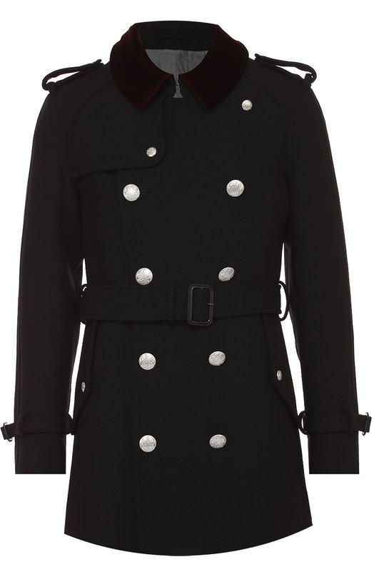 Шерстяное двубортное пальто с контрастным воротником Alexander McQueen 435824/QHV15