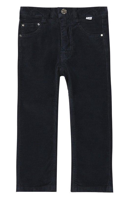 Брюки из вельвета Il GufoБрюки<br>В осенне-зимнюю коллекцию 2016 года вошли прямые брюки из мягкого и эластичного хлопкового велюра. Модель плотно сидит на талии благодаря эластичной вставке на поясе со шлевками, рассчитанными под широкий ремень.<br><br>Размер Years: 2<br>Пол: Мужской<br>Возраст: Детский<br>Размер производителя vendor: 92-98cm<br>Материал: Хлопок: 98%; Эластан: 2%;<br>Цвет: Синий