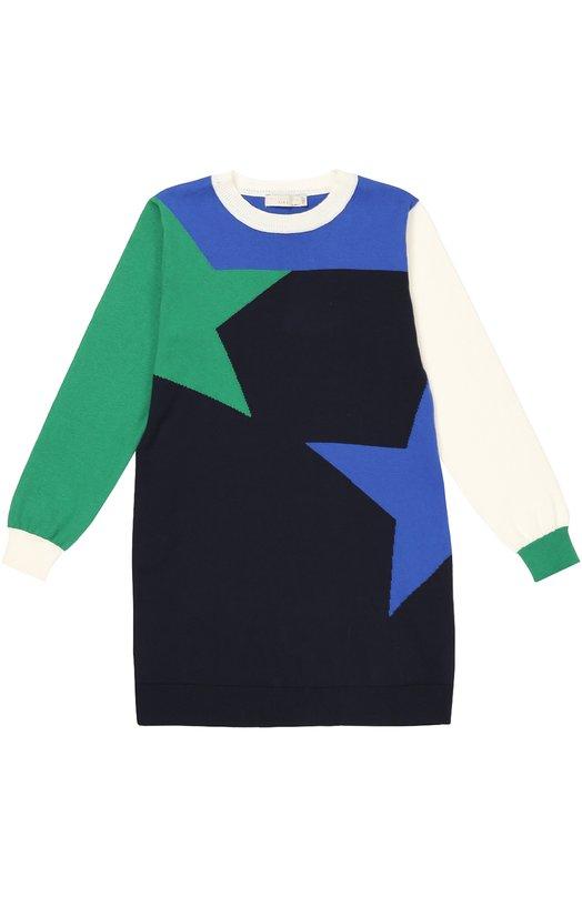 Платье с геометрическим принтом из смеси хлопка и кашемира Stella McCartneyПлатья<br>Стелла Маккартни включила в коллекцию сезона осень-зима 2016 года платье с длинным рукавом и круглым вырезом. Для создания модели использован гипоаллергенный хлопок с добавлением нежного кашемира. Изделие украшено узором в технике color block.<br><br>Размер Years: 8<br>Пол: Женский<br>Возраст: Детский<br>Размер производителя vendor: 128-134cm<br>Материал: Хлопок: 95%; Кашемир: 5%;<br>Цвет: Синий