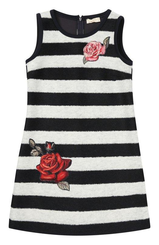 Платье в полоску с аппликациями MonnalisaПлатья<br>Платье в полоску, без рукавов сшито из фактурного мягкого неопрена. Проймы и горловина отделаны гладким кантом. Спереди — яркие атласные аппликации в форме роз. Модель А-силуэта, застегивающаяся сзади на потайную молнию, вошла в осенне-зимнюю коллекцию 2016 года.<br><br>Размер Years: 7<br>Пол: Женский<br>Возраст: Детский<br>Размер производителя vendor: 122-128cm<br>Материал: Полиэстер: 54%; Акрил: 32%; Шерсть: 14%;<br>Цвет: Разноцветный