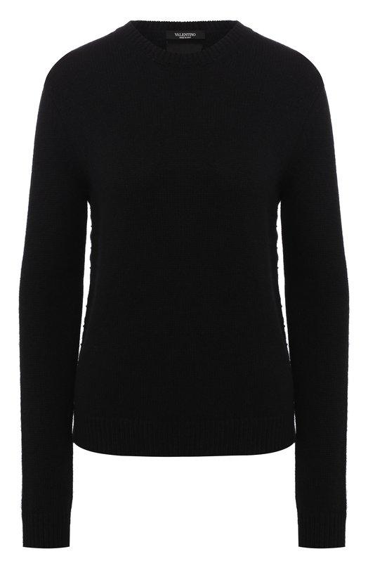 Купить Кашемировый пуловер с декоративными шипами и разрезами Valentino, LB0KC16N/2TD, Италия, Черный, Кашемир: 100%;