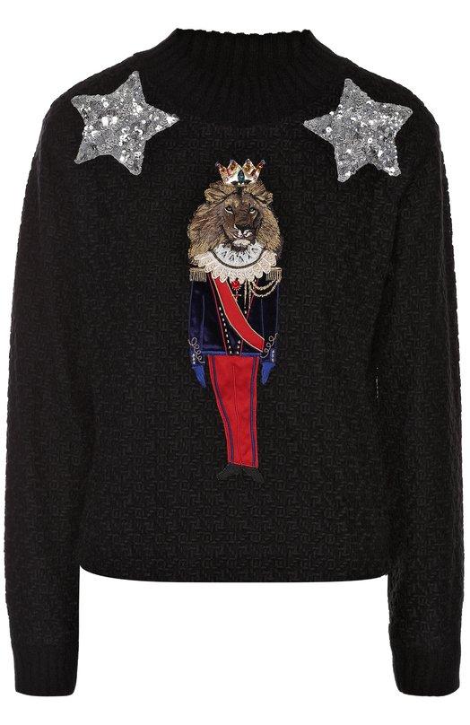 Пуловер фактурной вязки с яркой вышивкой Dolce & Gabbana 0102/F9821Z/FLMZM