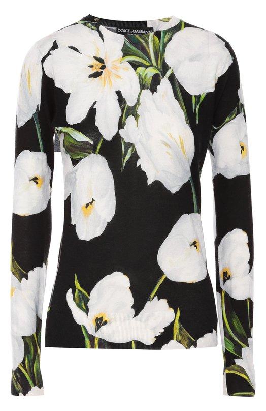 Кашемировый пуловер с круглым вырезом и цветочным принтом Dolce & Gabbana 0102/FP018K/F66BG