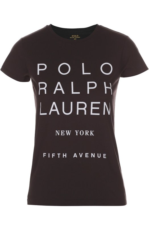 Хлопковая футболка с контрастной надписью Polo Ralph LaurenФутболки<br>Футболка с круглым вырезом сшита из мягкого хлопка серого цвета. Ральф Лорен украсил изделие текстовым принтом в виде названия бренда и адреса его флагманского магазина в Нью-Йорке. Модель прямого кроя вошла в осенне-зимнюю коллекцию 2016 года.<br><br>Российский размер RU: 44<br>Пол: Женский<br>Возраст: Взрослый<br>Размер производителя vendor: M<br>Материал: Хлопок: 100%;<br>Цвет: Серый