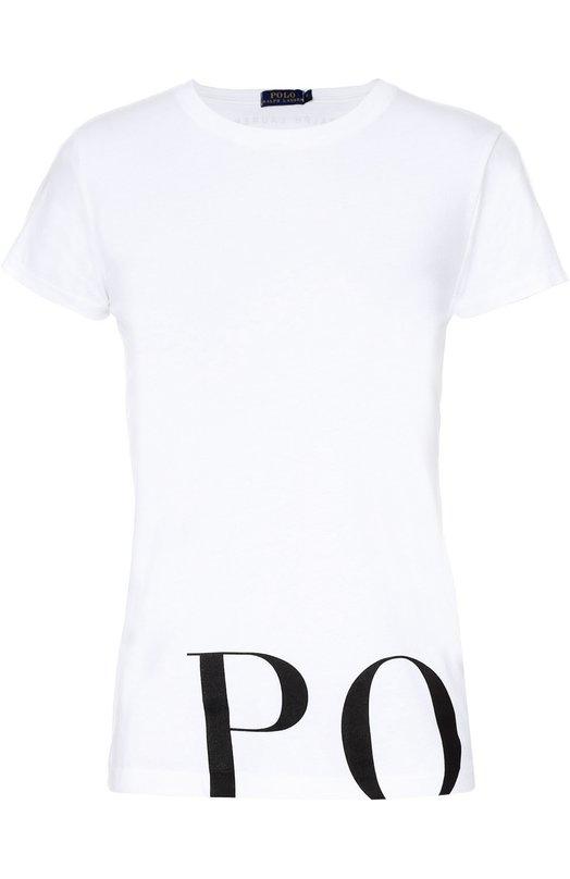 Хлопковая футболка с контрастной надписью Polo Ralph LaurenФутболки<br>В коллекцию сезона осень-зима 2016 года вошла белая футболка прямого кроя. Для создания модели Ральф Лорен выбрал мягкий тонкий хлопок белого цвета. В качестве декора использован крупный черный принт в виде слова «Polo». Советуем носить с синими джинсами, а также темными бомбером и туфлями.<br><br>Российский размер RU: 40<br>Пол: Женский<br>Возраст: Взрослый<br>Размер производителя vendor: XS<br>Материал: Хлопок: 100%;<br>Цвет: Белый