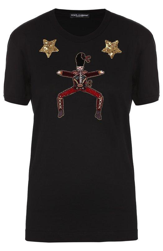 Хлопковая футболка прямого кроя с контрастной вышивкой Dolce &amp; GabbanaФутболки<br><br><br>Российский размер RU: 42<br>Пол: Женский<br>Возраст: Взрослый<br>Размер производителя vendor: 40<br>Материал: Хлопок: 100%;<br>Цвет: Черный