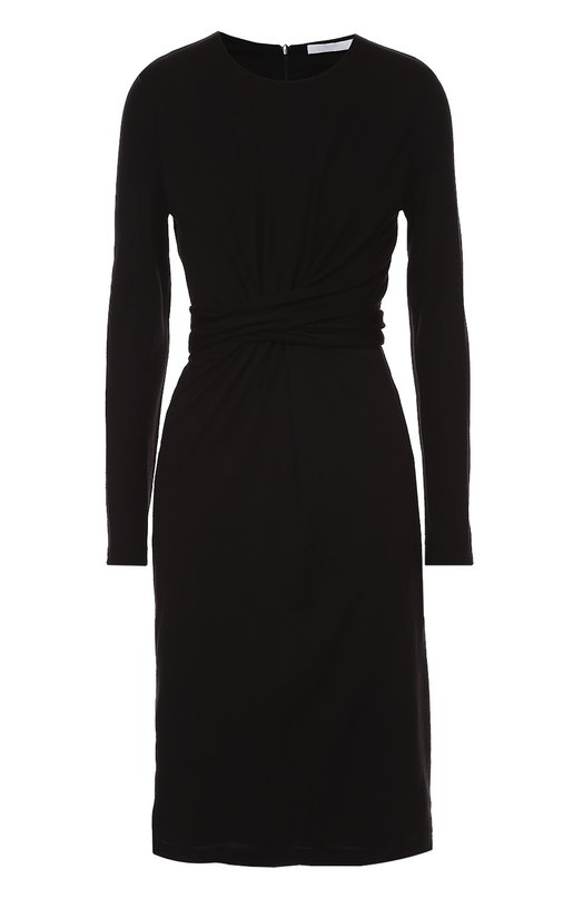 Приталенное платье с длинным рукавом и драпировкой HUGO 50320506