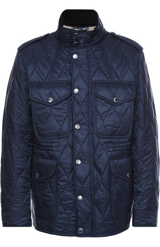 Утепленная стеганая куртка с воротником-стойкой BurberryКуртки<br>Темно-синяя стеганая куртка из осенне-зимней коллекции 2016 года дополнена на локтях вставками из мягкой черной кожи ягненка. Мастера бренда, основанного Томасом Берберри, сшили модель из прочного текстиля. Воротник-стойка застегивается на ремешок с пряжкой.<br><br>Российский размер RU: 46<br>Пол: Мужской<br>Возраст: Взрослый<br>Размер производителя vendor: S<br>Материал: Подкладка-хлопок: 60%; Подкладка-полиэстер: 40%; Отделка кожа натуральная: 100%; Отделка-хлопок: 100%; Полиэстер: 100%;<br>Цвет: Темно-синий