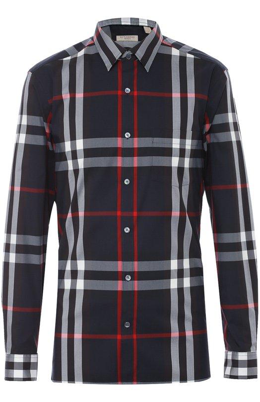 Хлопковая рубашка с воротником кент Burberry 4006731