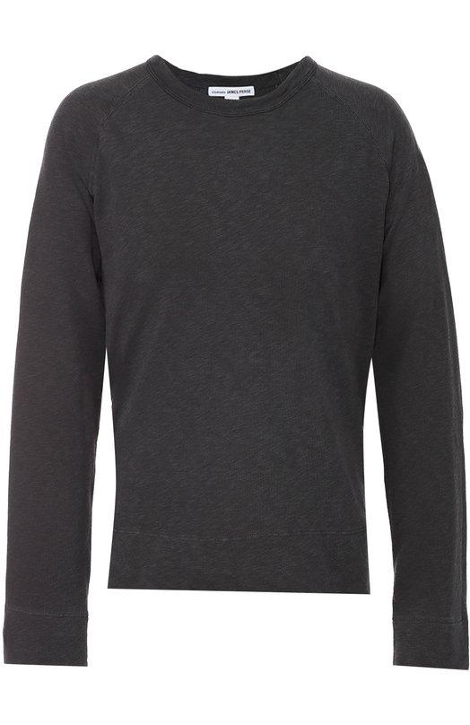 Хлопковый свитшот с круглым вырезом James PerseСвитеры<br>Джеймс Пирс включил темно-серый пуловер в осенне-зимнюю коллекцию 2016 года. Модель с круглым вырезом и длинными рукавами произведена из мягкого гладкого хлопка. Рекомендуем сочетать с джинсами, разноцветной курткой и кроссовками черного цвета.<br><br>Российский размер RU: 50<br>Пол: Мужской<br>Возраст: Взрослый<br>Размер производителя vendor: 4<br>Материал: Хлопок: 100%;<br>Цвет: Темно-серый