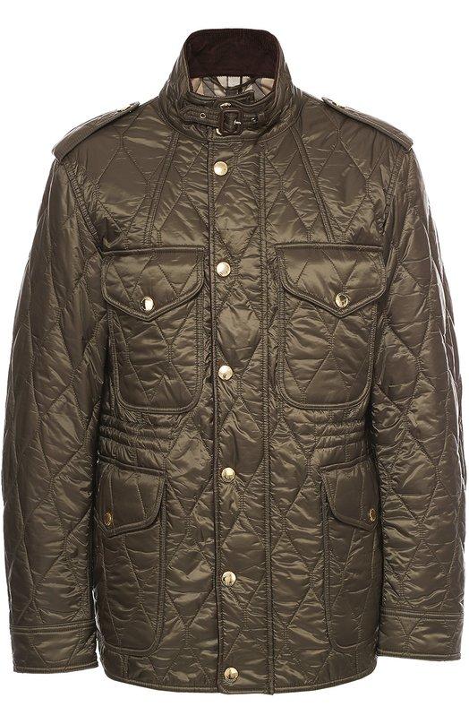 Утепленная стеганая куртка с воротником-стойкой Burberry BritКуртки<br>В осенне-зимнюю коллекцию бренда, основанного Томасом Берберри, вошла стеганая куртка с воротником-стойкой и длинными рукавами. Модель сшита из прочного текстиля оливкового цвета. Изделие с погонами и четырьмя карманами с клапанами застегивается на молнию, скрытую под планкой с кнопками.<br><br>Российский размер RU: 54<br>Пол: Мужской<br>Возраст: Взрослый<br>Размер производителя vendor: XXL<br>Материал: Подкладка-хлопок: 60%; Подкладка-полиэстер: 40%; Отделка кожа натуральная: 100%; Отделка-хлопок: 100%; Полиэстер: 100%;<br>Цвет: Оливковый