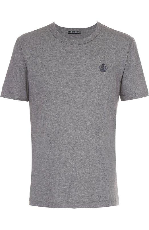 Купить Хлопковая футболка с круглым вырезом Dolce & Gabbana, 0101/G8GH2T/G7HQE, Италия, Серый, Хлопок: 100%;