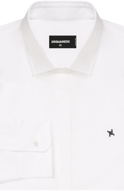 Хлопковая сорочка с вышивкой на груди Dsquared2Рубашки<br>Белая рубашка с воротником кент и длинными рукавами вошла в осенне-зимнюю коллекцию 2016 года. Дин и Дэн Кейтены выбрали для создания модели гладкий тонкий хлопок. Изделие украшено на груди небольшим принтом в виде колючей проволоки.<br><br>Российский размер RU: 46<br>Пол: Мужской<br>Возраст: Взрослый<br>Размер производителя vendor: 44<br>Материал: Хлопок: 100%;<br>Цвет: Белый