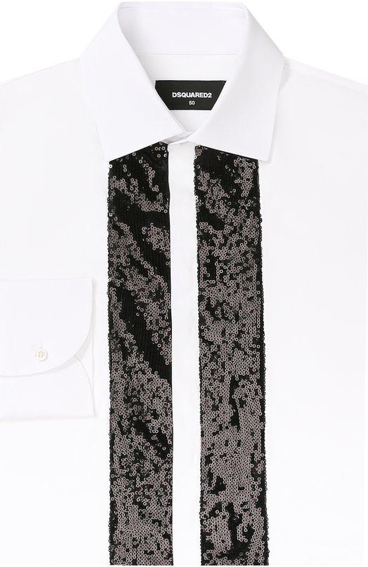 Хлопковая сорочка с декоративной отделкой из пайеток Dsquared2 S74DL0944/S35244