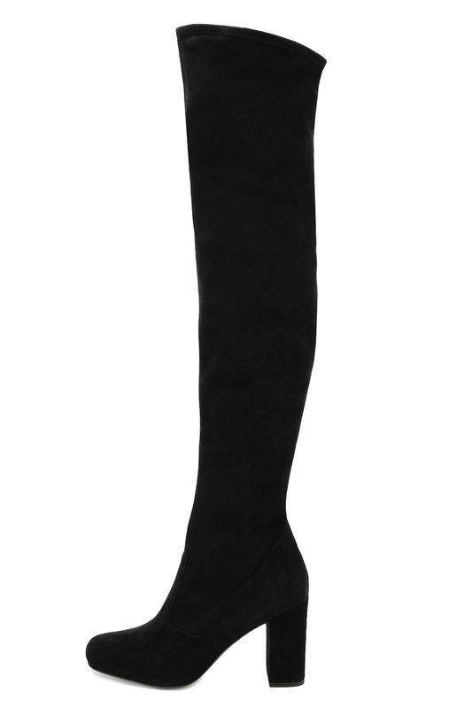 Замшевые ботфорты Rolling на устойчивом каблуке Saint LaurentСапоги<br>Черные ботфорты-чулки Rolling вошли в осенне-зимнюю коллекцию бренда, основанного Ивом Сен-Лораном. Для производства модели с круглым мысом, на тонкой подошве и высоком устойчивом каблуке была использована мягкая замша.<br><br>Российский размер RU: 38<br>Пол: Женский<br>Возраст: Взрослый<br>Размер производителя vendor: 38-5<br>Материал: Стелька-кожа: 100%; Подошва-кожа: 100%; Замша натуральная: 100%;<br>Цвет: Черный