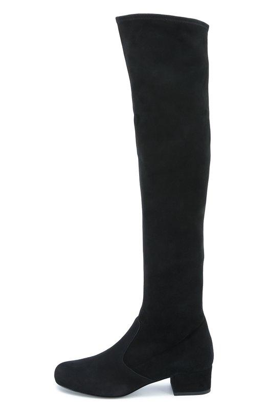 Замшевые ботфорты Babies на низком каблуке Saint LaurentСапоги<br>В осенне-зимнюю коллекцию 2016 года вошли черные ботфорты Babies. Мастера бренда, основанного Ивом Сен-Лораном, создали модель с круглым мысом и на тонкой подошве из гладкой и прочной замши. Невысокий устойчивый каблук обтянут таким же материалом.<br><br>Российский размер RU: 36<br>Пол: Женский<br>Возраст: Взрослый<br>Размер производителя vendor: 36<br>Материал: Стелька-кожа: 100%; Подошва-кожа: 100%; Замша натуральная: 100%;<br>Цвет: Черный