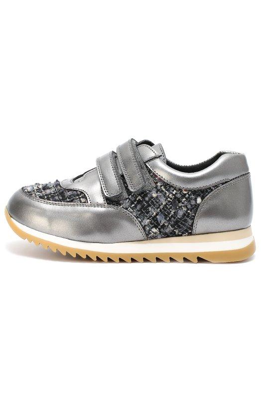 Комбинированные кроссовки на рифленой подошве ClarysСпортивная обувь<br><br><br>Российский размер RU: 30<br>Пол: Женский<br>Возраст: Детский<br>Размер производителя vendor: 30<br>Материал: Кожа натуральная: 100%; Стелька-кожа: 100%; Подошва-резина: 100%; Текстиль: 100%;<br>Цвет: Серый