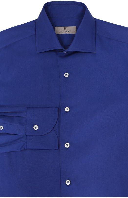 Хлопковая сорочка с воротником акула CanaliРубашки<br>Темно-синяя рубашка вошла в осенне-зимнюю коллекцию 2016 года. Модель с воротником акула и длинными рукавами с классическими манжетами сшита из гладкого тонкого хлопка на собственной фабрике бренда в Италии. Изделие застегивается на белые пуговицы.<br><br>Российский размер RU: 41<br>Пол: Мужской<br>Возраст: Взрослый<br>Размер производителя vendor: 41<br>Материал: Хлопок: 100%;<br>Цвет: Темно-синий